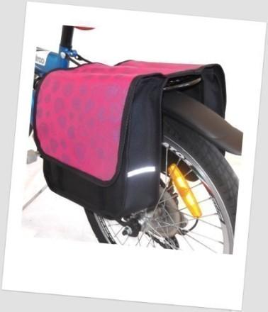 Baby-Joy Fahrradtasche JOY Kinderfahrradtasche Satteltasche Gepäckträgertasche 2 x 5 Liter 22 Heart Pink
