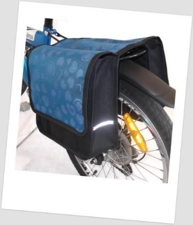 Baby-Joy Fahrradtasche JOY Kinderfahrradtasche Satteltasche Gepäckträgertasche 2 x 5 Liter 23 Heart Blue