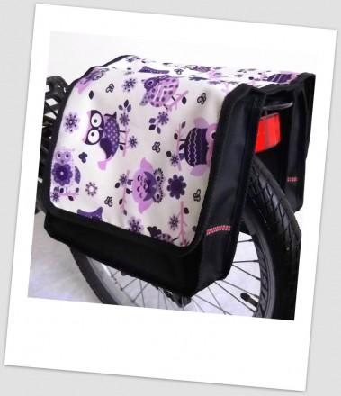 Baby-Joy Fahrradtasche JOY Kinderfahrradtasche Satteltasche Gepäckträgertasche 2 x 5 Liter 31 Owl 4 lila-creme
