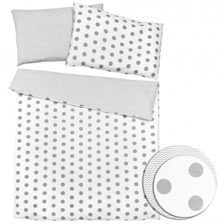 Baby-Joy 2-tlg-Baby-Bettwäsche-Set 100% Baumwolle ZICK-ZACK-Serie 100x135 cm 01 Punkte