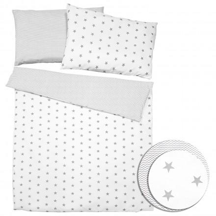 Baby-Joy 2-tlg-Baby-Bettwäsche-Set 100% Baumwolle ZICK-ZACK-Serie 100x135 cm 02 Sterne groß