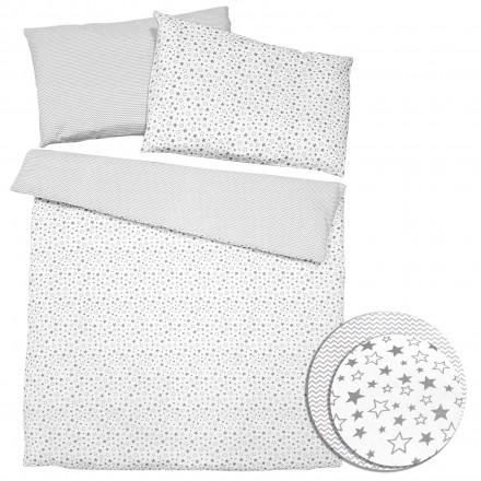 Baby-Joy 2-tlg-Baby-Bettwäsche-Set 100% Baumwolle ZICK-ZACK-Serie 100x135 cm 03 Sterne klein