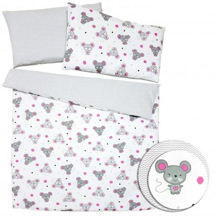 Baby-Joy 2-tlg-Baby-Bettwäsche-Set 100% Baumwolle ZICK-ZACK-Serie 100x135 cm 06 Maus pink