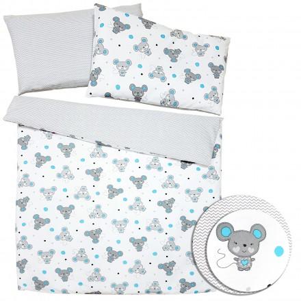 Baby-Joy 2-tlg-Baby-Bettwäsche-Set 100% Baumwolle ZICK-ZACK-Serie 100x135 cm 07 Maus türkis