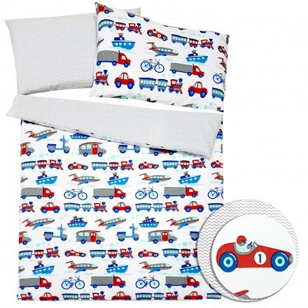 Baby-Joy 2-tlg-Baby-Bettwäsche-Set 100% Baumwolle ZICK-ZACK-Serie 100x135 cm 08 Fahrzeuge
