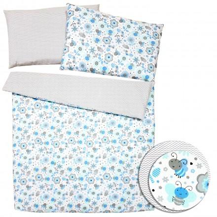 Baby-Joy 2-tlg-Baby-Bettwäsche-Set 100% Baumwolle ZICK-ZACK-Serie 100x135 cm 09 Biene