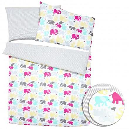 Baby-Joy 2-tlg-Baby-Bettwäsche-Set 100% Baumwolle ZICK-ZACK-Serie 100x135 cm 10 Elefant
