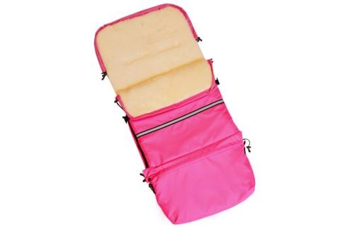 Baby-Joy Fußsack FINN 115cm XXL aus Schurwolle Winterfußsack, Babyfußsack für Buggy Kinderwagen 15 Pink