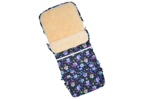 Baby-Joy Fußsack FINN 115cm XXL aus Schurwolle Winterfußsack, Babyfußsack für Buggy Kinderwagen 18 Eule 1 Navy