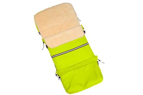 Baby-Joy Fußsack FINN 115cm XXL aus Schurwolle Winterfußsack, Babyfußsack für Buggy Kinderwagen 19 Neon-Grün