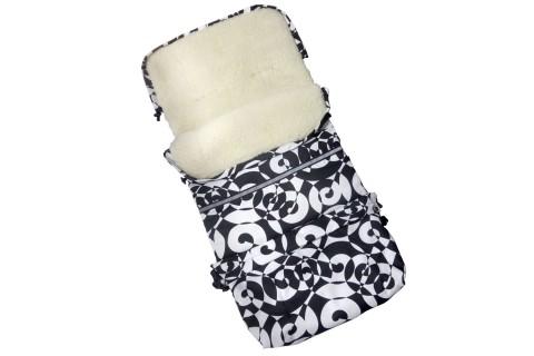 Baby-Joy Fußsack FINN Lammwolle/Polyester 115cm XXL Winterfußsack, Babyfußsack für Buggy Kinderwagen 26 Schnee
