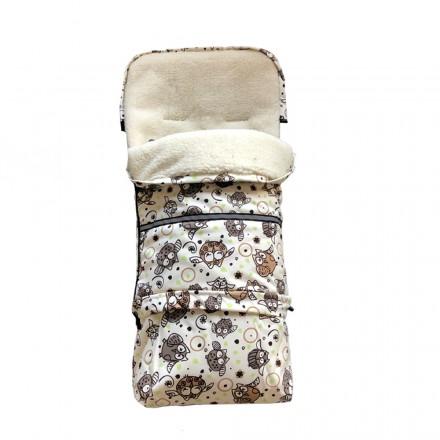 Baby-Joy Fußsack FINN Lammwolle/Polyester 115cm XXL Winterfußsack, Babyfußsack für Buggy Kinderwagen 53 Eule Creme Braun