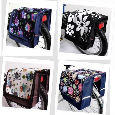Baby-Joy Fahrradtasche JOY Kinderfahrradtasche Satteltasche Gepäckträgertasche 2 x 5 Liter 35 Dots Little 2 Azur