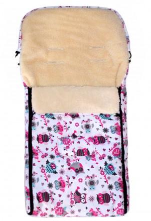 Fußsack Kai Fell XXL 120 cm ab 1 bis 5 Jahre | 24 Farben 43 Weiß Pink Eule