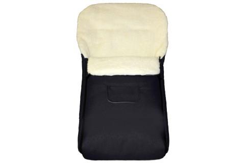 Fußsack Kai UNI Lammwolle/Polyester 105 cm 6 Monate bis 3 Jahre | 40 Farben 01 schwarz