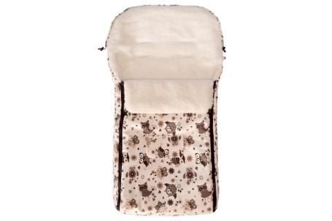 Fußsack Kai UNI Lammwolle/Polyester 105 cm 6 Monate bis 3 Jahre | 40 Farben 46 Creme Braun Eule