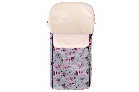 Fußsack Kai Fell UNI 105 cm 6 Monate bis 3 Jahre | 40 Farben 48 Graphit Pink Eule