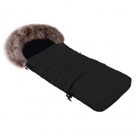 Gesteppter Luxus-Fußsack LOKI mit Kunstfellkragen Kuschelfleece 115 cm | 11 Farben 03-01 Schwarz mit braunem Kragen
