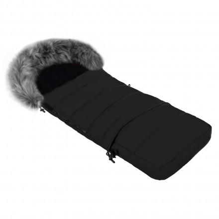 Gesteppter Luxus-Fußsack LOKI mit Kunstfellkragen Kuschelfleece 115 cm | 11 Farben 03-02 Schwarz mit graphit-grauem Kragen