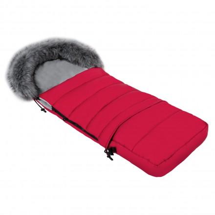 Gesteppter Luxus-Fußsack LOKI mit Kunstfellkragen Kuschelfleece 115 cm | 11 Farben 04 Rot