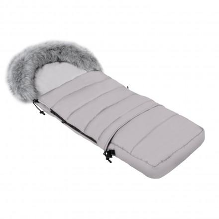 Gesteppter Luxus-Fußsack LOKI mit Kunstfellkragen Kuschelfleece 115 cm | 11 Farben 06 Grau