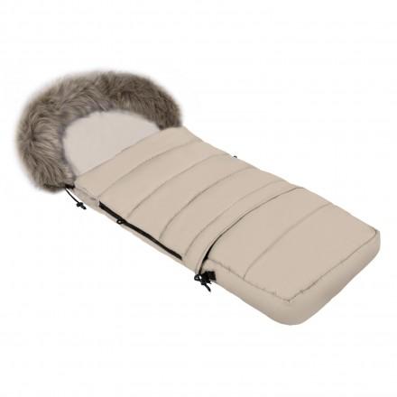 Gesteppter Luxus-Fußsack LOKI mit Kunstfellkragen Kuschelfleece 115 cm | 11 Farben 14 Beige