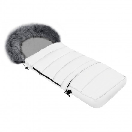 Gesteppter Luxus-Fußsack LOKI mit Kunstfellkragen Kuschelfleece 115 cm | 11 Farben 20 Weiß