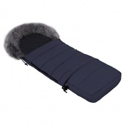 Gesteppter Luxus-Fußsack LOKI mit Kunstfellkragen Kuschelfleece 115 cm | 11 Farben 25-02 Navy Dunkelblau