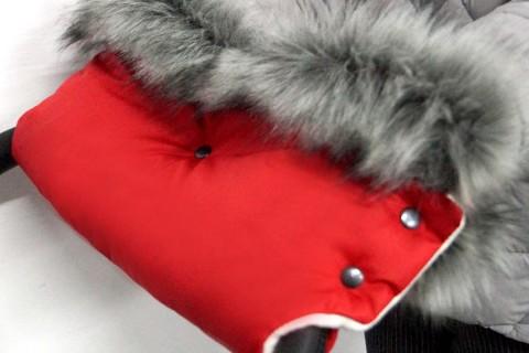 MUFF FAUXFELL Baby-Joy Handwärmer Kinderwagenhandschuh Schlitten Kinderwagen 2305 Rot-Creme