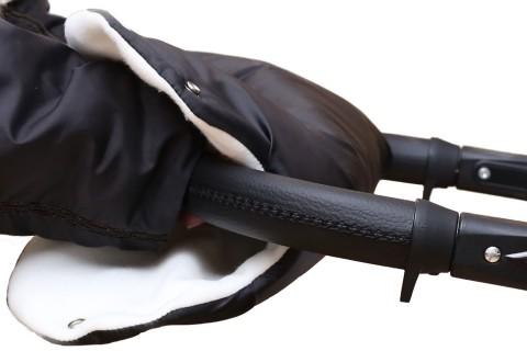 Baby-Joy Muff Handwärmer Handschutz Kinderwagenhandschuh Schlittenhandschuh 01 Schwarz-Creme