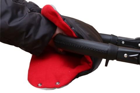 Baby-Joy Muff Handwärmer Handschutz Kinderwagenhandschuh Schlittenhandschuh 03 Schwarz-Rot