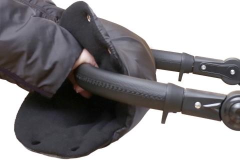 Baby-Joy Muff Handwärmer Handschutz Kinderwagenhandschuh Schlittenhandschuh 02 Schwarz-Schwarz