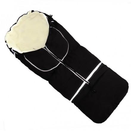 Fußsack NILS FLEECE 110 cm 6 Monate bis 4 Jahre | 40 Farben 15 Schwarz-creme