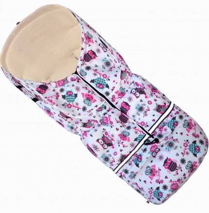 Fußsack NILS FLEECE 110 cm 6 Monate bis 4 Jahre | 40 Farben 43 Eule Pink-Weiss