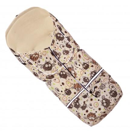 Fußsack NILS FLEECE 110 cm 6 Monate bis 4 Jahre | 40 Farben 53 Eule Creme
