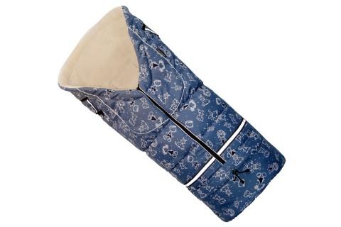 Fußsack NILS Lammwolle/Polyester 110 cm 6 Monate bis 4 Jahre | 40 Farben 29 Blau Kinder
