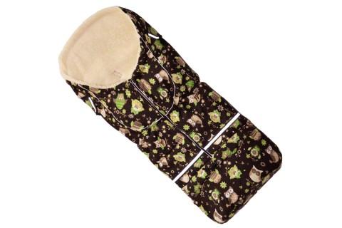 Fußsack NILS FELL 110 cm 6 Monate bis 4 Jahre | 40 Farben 42 Eule Braun