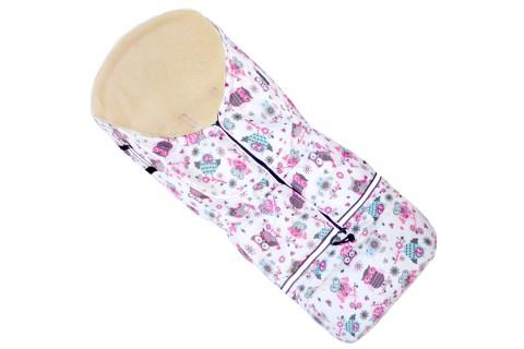 Fußsack NILS Lammwolle/Polyester 110 cm 6 Monate bis 4 Jahre | 40 Farben 43 Eule Pink-Weiss