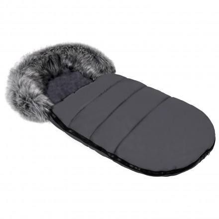 Gesteppter Luxus-Fußsack ODIN mit Kunstfellkragen Kuschelfleece 105 cm | 11 Farben 02 Graphit Grau