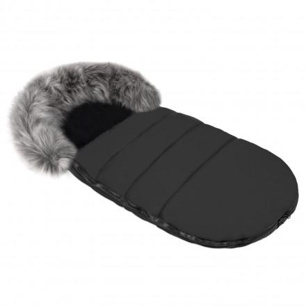 Gesteppter Luxus-Fußsack ODIN mit Kunstfellkragen Kuschelfleece 105 cm | 11 Farben 03-02 Schwarz mit graphit-grauem Kragen