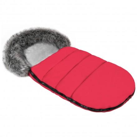 Gesteppter Luxus-Fußsack ODIN mit Kunstfellkragen Kuschelfleece 105 cm | 11 Farben 04 Rot