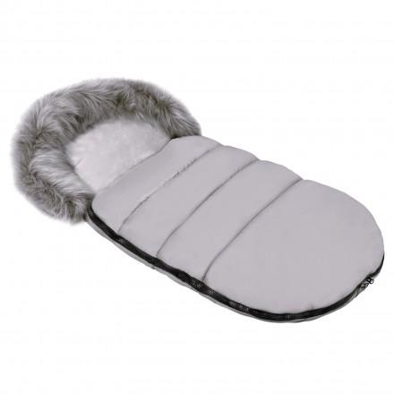 Gesteppter Luxus-Fußsack ODIN mit Kunstfellkragen Kuschelfleece 105 cm | 11 Farben 06 Grau