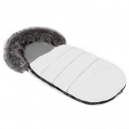 Gesteppter Luxus-Fußsack ODIN mit Kunstfellkragen Kuschelfleece 105 cm | 11 Farben 20 Weiß