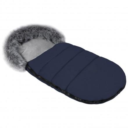 Gesteppter Luxus-Fußsack ODIN mit Kunstfellkragen Kuschelfleece 105 cm | 11 Farben 25-02 Navy Dunkelblau