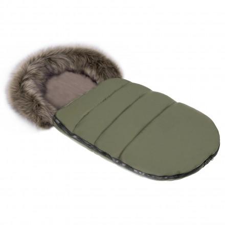 Gesteppter Luxus-Fußsack ODIN mit Kunstfellkragen Kuschelfleece 105 cm | 11 Farben 26 Khaki Oliv Grün
