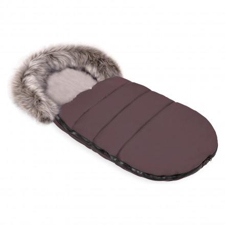 Gesteppter Luxus-Fußsack ODIN mit Kunstfellkragen Kuschelfleece 105 cm | 11 Farben 43 Kühles Braun Taupe