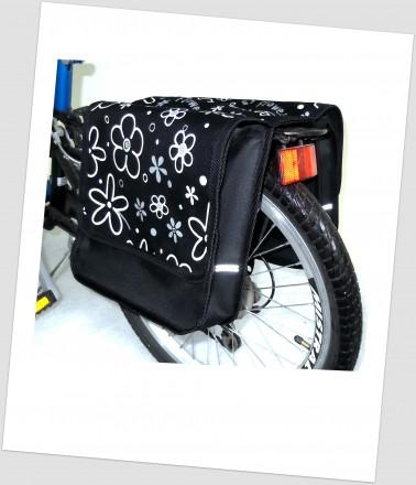 Baby-Joy Fahrradtasche JOY Kinderfahrradtasche Satteltasche Gepäckträgertasche 2 x 5 Liter 24 Flower White