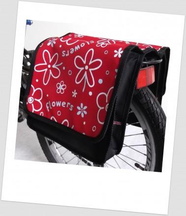 Baby-Joy Fahrradtasche JOY Kinderfahrradtasche Satteltasche Gepäckträgertasche 2 x 5 Liter 25 Flower Red