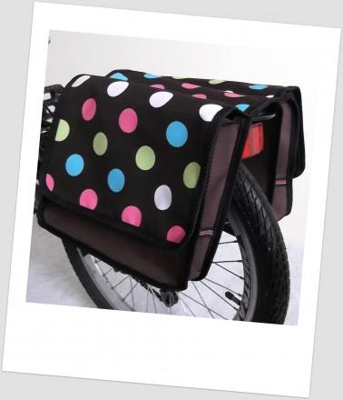 Baby-Joy Fahrradtasche JOY Kinderfahrradtasche Satteltasche Gepäckträgertasche 2 x 5 Liter 26 Dots 1 Brown