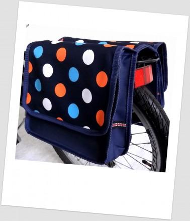Baby-Joy Fahrradtasche JOY Kinderfahrradtasche Satteltasche Gepäckträgertasche 2 x 5 Liter 27 Dots 2 Navy